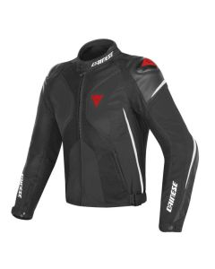 Giacca pelle tessuto Dainese Super rider d dry black white red