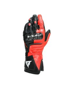 Guanti pelle Dainese Carbon 3 long Black fluo red white